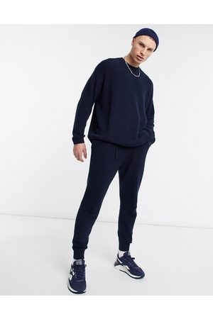 ASOS Ribbed co-ord cotton joggers in navy