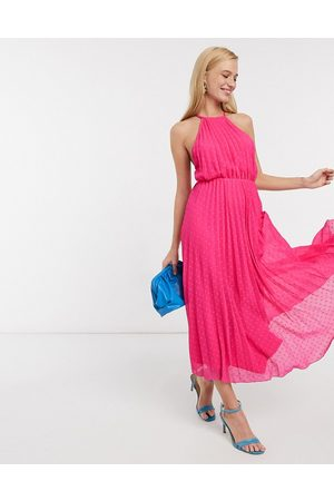 ASOS Ženy Ke krku - Halter pleated cami midi dress in dobby spot-Pink