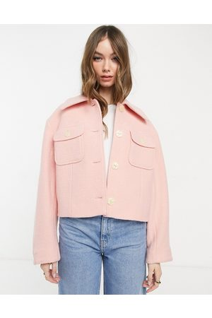 & OTHER STORIES Ženy Bundy - Recycled cropped jacket in pink