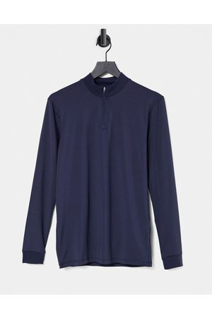 ASOS Muscle fit long sleeve t-shirt in navy with half zip