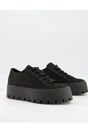 ASOS Devoted chunky canvas trainers in black