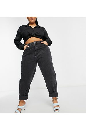 ASOS ASOS DESIGN Curve high rise 'slouchy' mom jeans in washed black