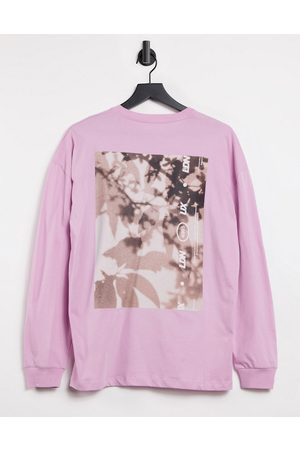 ASOS Unisex oversized long sleeve t-shirt with graphic-Pink