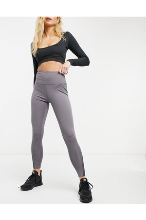 South Beach Performance leggings with mesh inserts in grey-Brown