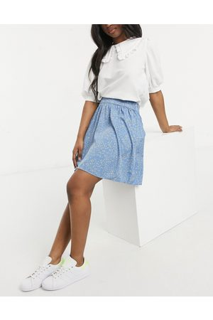 Pieces Shirred waist skater skirt with abstract polka print in blue