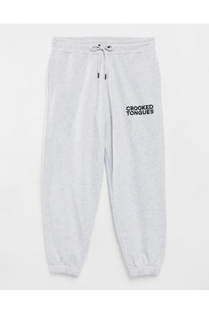 Crooked Tongues Joggers with logo in grey marl