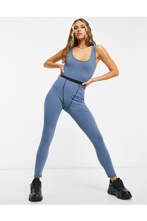 I saw it first Ženy Overaly dlouhé - Contrast stitch lounge jumpsuit in teal-Green
