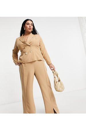 Outrageous Fortune Split front trouser co ord in camel-Tan