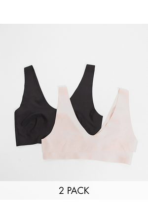 adidas 2 pack recycled V neck bonded bralettes in black and blush-Multi