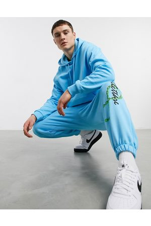 adidas Co-ord oversized joggers with leg print-Blue