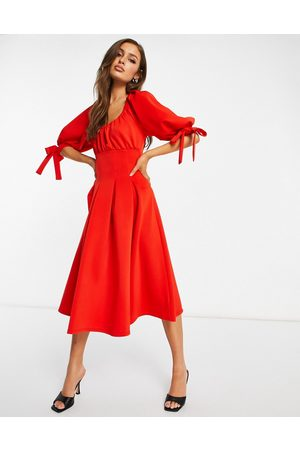 adidas Channelled corset puff sleeve prom skater midi dress in carrott-Multi