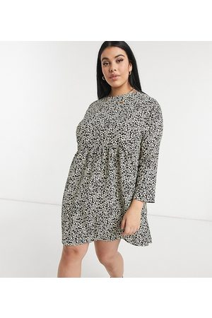 adidas Ženy Volnočasové - ASOS DESIGN Curve long sleeve smock mini dress in animal print-Multi