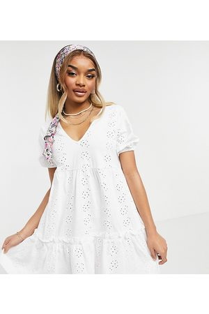 adidas ASOS DESIGN Petite broderie v neck smock dress with puff sleeve in white