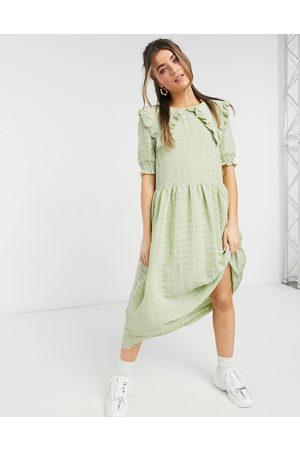 adidas Ženy Midi - Ofelia midi dress with collar detail in green