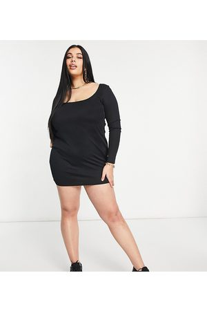 adidas Ženy Na párty - Flounce Plus scoop neck ribbed mini dress in black