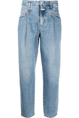 adidas High-rise tapered organic cotton jeans