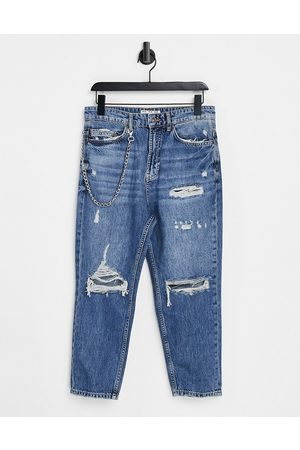 Pull&Bear Muži Strečové - Relaxed fit jeans in blue with chain