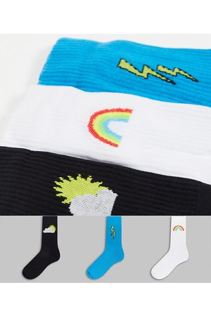 ASOS Sport sock with weather logos 3 pack-Multi