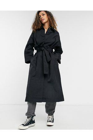 ASOS Nylon tech trench coat in black