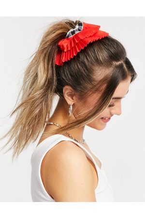 ASOS Scrunchie in gingham with pleated edge-Multi