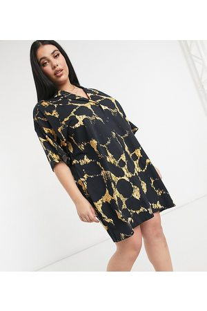 ASOS ASOS DESIGN Curve mini shirt dress with short sleeve in black and yellow abstract print