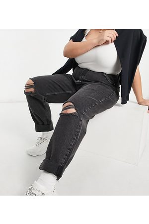 ASOS Curve ASOS DESIGN Curve high rise 'slouchy' mom jeans in washed black with rips