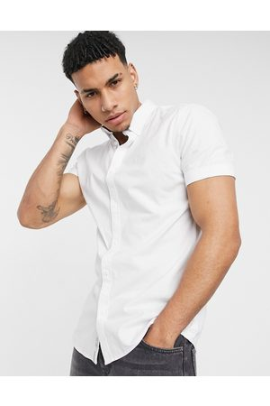 River Island Short sleeve muscle fit oxford in white