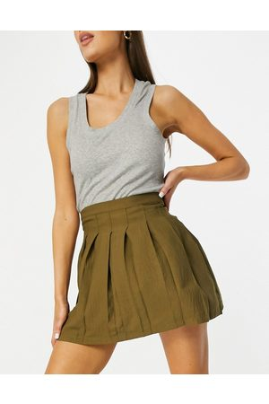 ASOS Ženy Krátké - Mini pleated tennis skirt in olive-Green