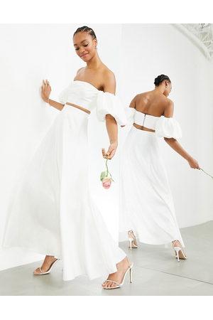ASOS Satin full maxi skirt in ivory-Pink