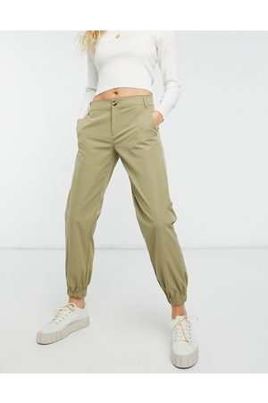 Only Button front straight leg trouser in green