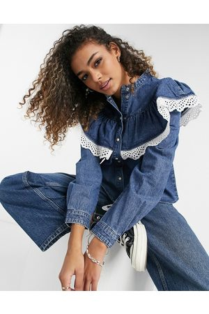 Object Denim shirt with ruffle detail in blue