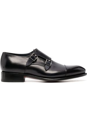 santoni Double-buckle leather monk shoes