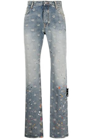 OFF-WHITE Logo-jacquard paint-splatter jeans