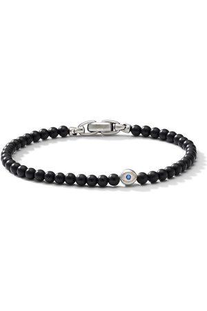 David Yurman Sterling silver, onyx and sapphire evil eye spiritual bracelet