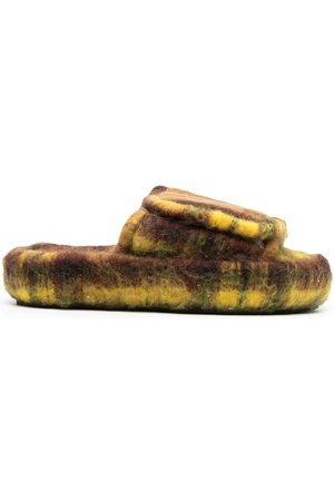 Natasha Zinko Touch-strap faux fur slippers