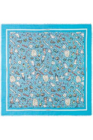 Burberry Montage-print silk-wool blend scarf