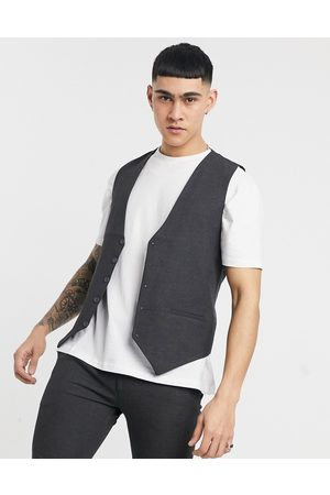 Bolongaro Muži Společenské vesty - Plain skinny waistcoat in grey
