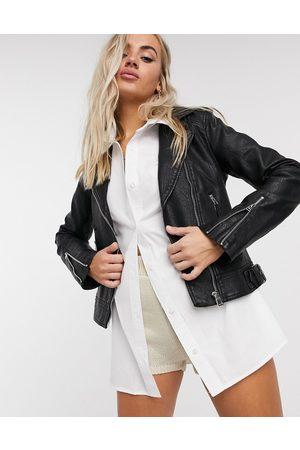 Topshop Faux leather biker jacket in black-Brown