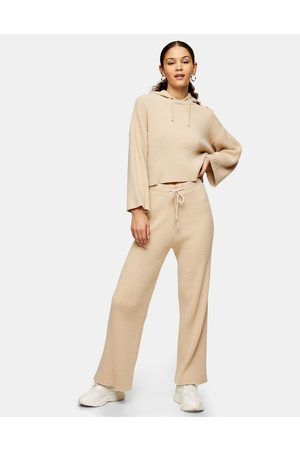 Topshop Wide-leg soft ribbed trousers in beige-Brown
