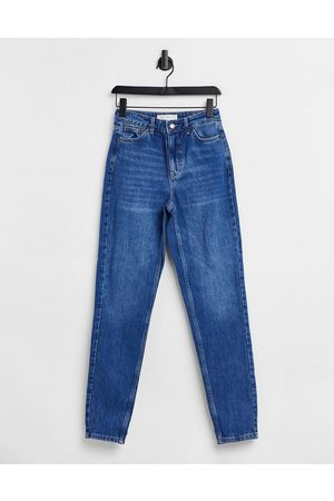 Topshop Mom tapered leg jeans in indigo blue