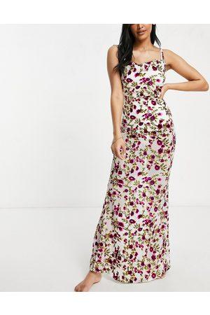 ASOS Fuller bust cowl neck burnout maxi beach dress in rose print-Multi