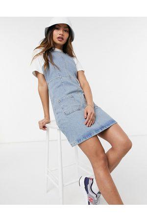 ASOS Denim dungaree pinny dress in midwash-Blue
