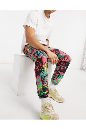 adidas Muži Tepláky - Fleece joggers co-ord with all over print-Red