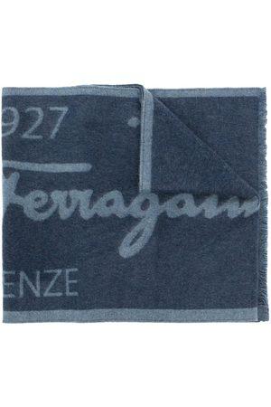 Salvatore Ferragamo Muži Šály a šátky - Two-tone logo wool scarf