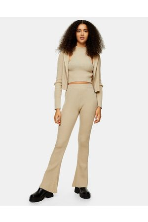 Topshop Ženy Široké nohavice - Knitted flared trousers in beige-Brown