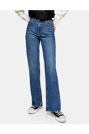 Topshop Ženy Zvonáče - Relaxed flare jeans in mid wash blue