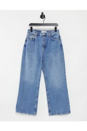 Topshop Ženy Slim - Slim wide leg jeans in mid wash blue