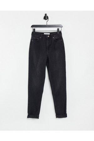 Topshop Ženy S vysokým pasem - Mom jeans in washed black