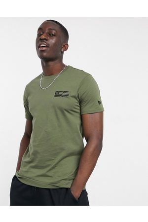 New Era Outdoor utility t-shirt with back print in khaki-Green