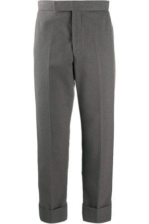 Thom Browne Muži Rovné nohavice - Backstrap side-stripe cotton trousers